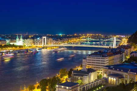 Panoramic view of Budapest in Hungary in a beautiful summer night
