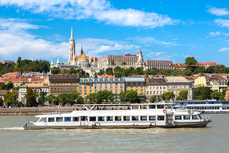 View of Budapest with the river Danube in Hungary in a beautiful summer day