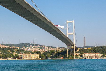Bosporus bridge connecting Europe and Asia in Istanbul, Turkey in a beautiful summer day
