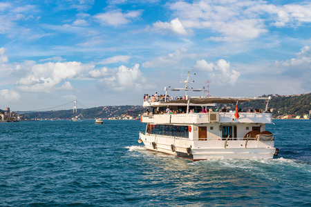 Passenger ship in the Gulf of the Golden Horn in Istanbul, Turkey in a beautiful summer day Éditoriale