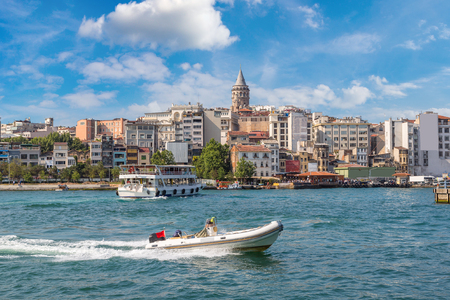 Cityscape with Galata Tower and Gulf of the Golden Horn in Istanbul, Turkey in a beautiful summer day