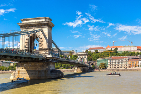 Szechenyi Chain bridge in Budapest in Hungary in a beautiful summer day