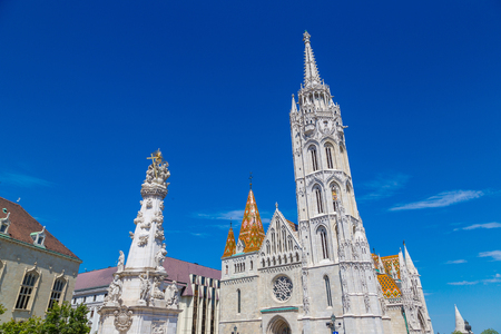 St. Matthias Church in Budapest in Hungary in a beautiful summer day