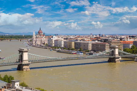 Panoramic view of Budapest and Danube river in a beautiful summer day