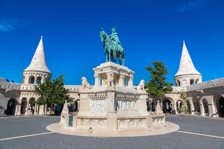 Horse riding statue of Stephen I the first king of Hungary in front of Fishermans bastion in Budapest in Hungary in a beautiful summer day