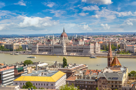 Panoramic view of  Budapest and Parliament Building in Hungary in a beautiful summer day Reklamní fotografie