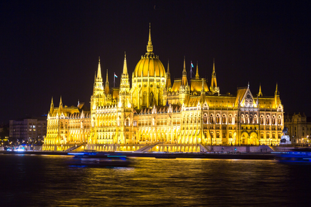 Panoramic view of Budapest and Parliament Building in Hungary in a beautiful summer night