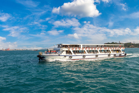 Passenger ship in the Gulf of the Golden Horn in Istanbul, Turkey in a beautiful summer day Redakční