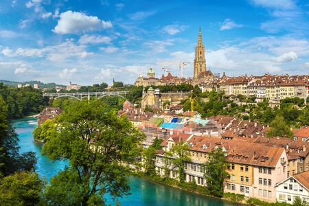 Panoramic view of Bern and Berner Munster cathedral in Switzerland Stock Photo