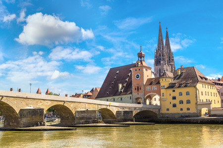 Regensburg and Cathedral, Germany in a beautiful summer day 스톡 콘텐츠