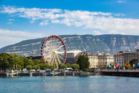 Ferris wheel in Geneva in a beautiful summer day, Switzerland Stock Photo