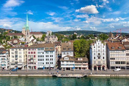 Panoramic view of historical part of Zurich in a beautiful summer day, Switzerland Stock Photo