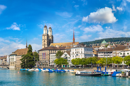 Famous Grossmunster church in Zurich in a beautiful summer day, Switzerland