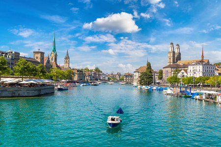 Historical part of Zurich with famous Fraumunster and Grossmunster churches in a beautiful summer day, Switzerland Stok Fotoğraf