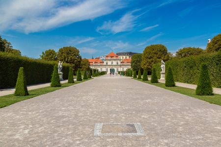 Fountain and Belvedere garden in Vienna, Austria in a beautiful summer day Stock Photo