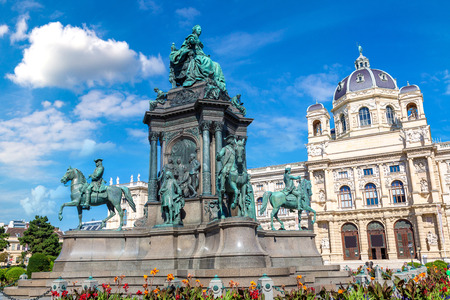 Maria Theresa statue and Naturhistorisches Museum (Natural History Museum) in Vienna, Austria in a beautiful summer day