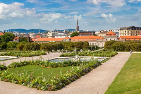 Fountain and Belvedere garden in Vienna, Austria in a beautiful summer day Stock Photo