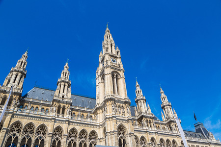 Rathaus (City hall) in Vienna, Austria in a beautiful summer day