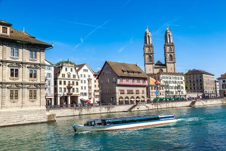 Famous Grossmunster church in Zurich in a beautiful summer day, Switzerland