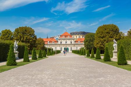 Fountain and Belvedere garden in Vienna, Austria in a beautiful summer day Editorial