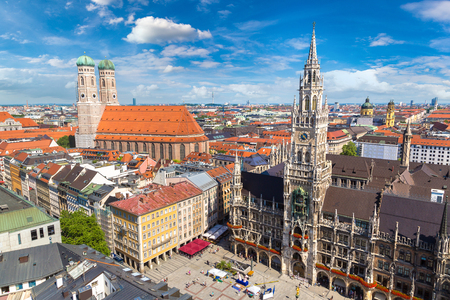 Aerial view on Marienplatz town hall and Frauenkirche in Munich, Germany in a beautiful summer day Editorial