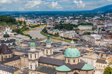 salzach: Panoramic aerial view of Salzburg Cathedral, Austria in a beautiful day