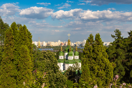 Panoramic view of Kiev and Vydubychi Monastery in Ukraine in a beautiful summer day