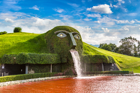 INNSBRUCK, AUSTRIA - JULY 25, 2017: Swarovski crystal worlds (Kristallwelten) museum in a beautiful summer day, Austria