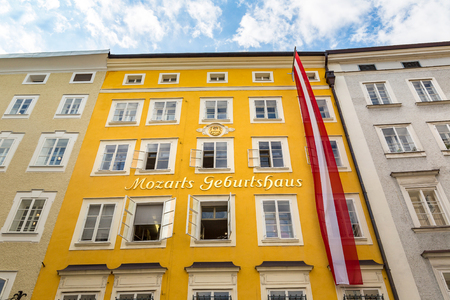 The birthplace of Wolfgang Amadeus Mozart in Salzburg in a beautiful summer day, Austria