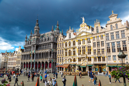 BRUSSELS, BELGIUM - JUNE 16, 2016: The Grand Place in Brussels in a beautiful summer day, Belgium on June 16, 2016 Editorial