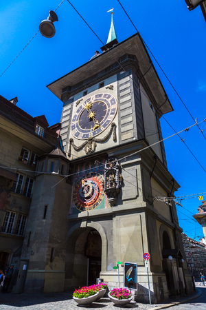 BERN, SWITZERLAND - JUNE 27, 2016: The Zytglogge, old clock tower in Bern in a beautiful summer day, Switzerland on June 27, 2016