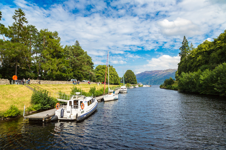 ness river: LOCH NESS, SCOTLAND - JUNE 27, 2016: Fort Augustus and Loch Ness lake in Scotland in a beautiful summer day, United Kingdom on June 27, 2016