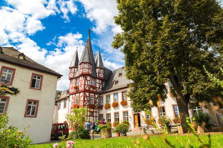RUDESHEIM, GERMANY - JUNE 30, 2016: Old architecture of Rudesheim near the river Rhine, Germany on June 30, 2016