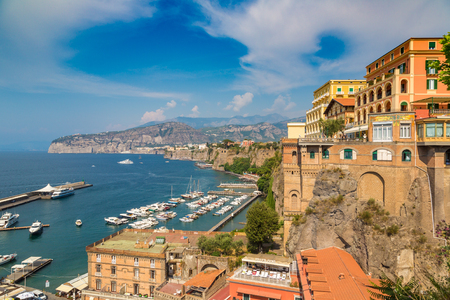 SORRENTO, ITALY - JULY 28, 2017: Panoramic aerial view of Sorrento, the Amalfi Coast in Italy in a beautiful summer day