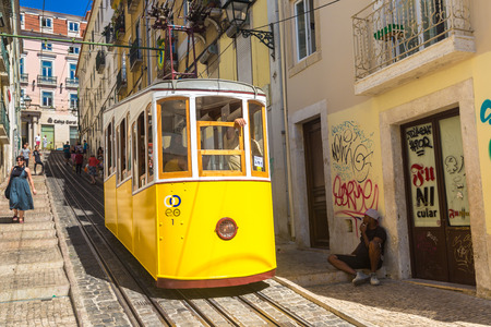 LISBON, PORTUGAL - JUNE 12, 2016: The Gloria Funicular in the city center of Lisbon in a beautiful summer day, Portugal on June 12, 2016