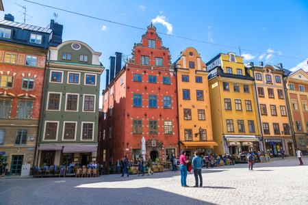 STOCKHOLM, SWEDEN - MAY 22: Oldest medieval Stortorget square in Stockholm in a sunny day, Sweden on May 22, 2017