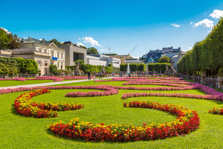Salzburg from Mirabell garden in a beautiful summer day, Austria Stock Photo