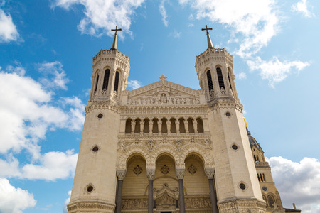 Basilica of Notre Dame de Fourviere in Lyon, France in a beautiful summer day