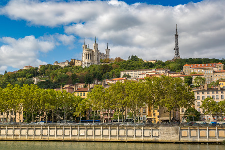 Cityscape of Lyon, France in a beautiful summer day
