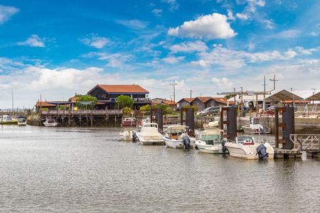 Oyster village in Arcachon Bay, France in a beautiful summer day