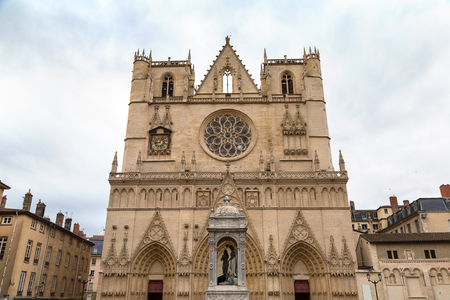 Lyon Cathedral in Lyon, France in a beautiful summer day Stock Photo