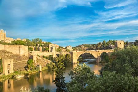 Bridge San Martin in Toledo, Spain in a beautiful summer day