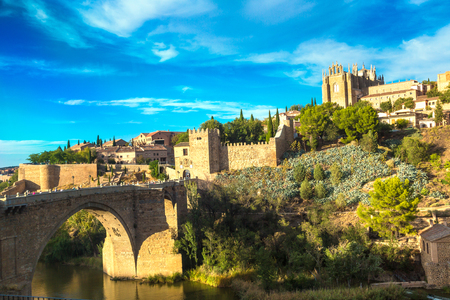 mancha: Bridge San Martin in Toledo, Spain in a beautiful summer day