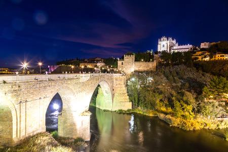 Bridge San Martin in Toledo, Spain in a beautiful summer night