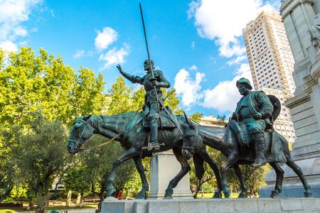 Statues of Don Quixote and Sancho Panza at the Plaza de Espana in Madrid, Spain Stock Photo