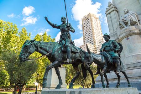 Statues of Don Quixote and Sancho Panza at the Plaza de Espana in Madrid, Spain Editorial
