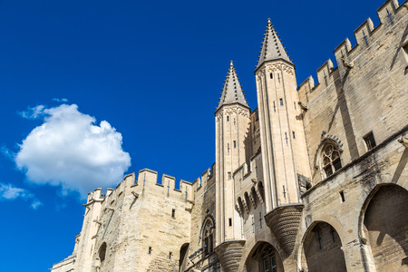 Papal palace in Avignon in a beautiful summer day, France Editorial