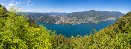 Panoramic aerial view of lake Como in Italy in a beautiful summer day