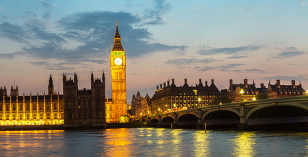 clock: The Big Ben, the Houses of Parliament and Westminster bridge in London in a beautiful summer night, England, United Kingdom