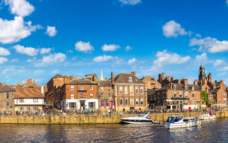 clock: Panorama of River Ouse in York in North Yorkshire in a beautiful summer day, England, United Kingdom Stock Photo